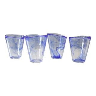 Set of 4 Kosta Boda Mine Glasses Tumblers Blue Swirl Ulrica Hydman Vallien