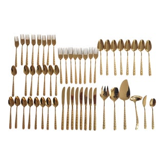 Hollywood Regency Gold Plated Flatware Set - Service for 8