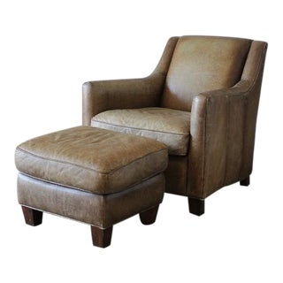 Vintage Leather Club Chair and Ottoman