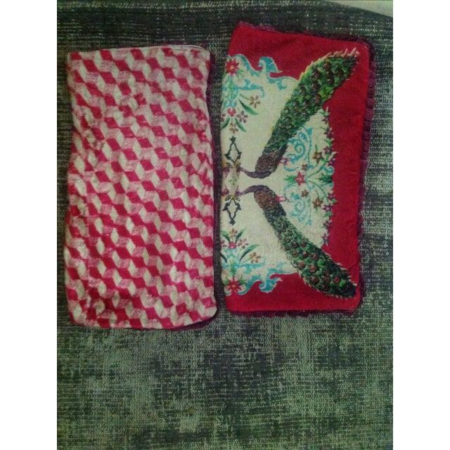 Antique Silk Velvet Persian Peacock Pillows - Pair - Image 11 of 11