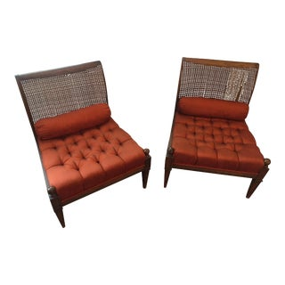 Hollywood Regency Cane-Back Slipper Chairs - A Pair