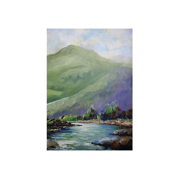 Painting of a River with Green Hills & Trees - Image 3 of 4
