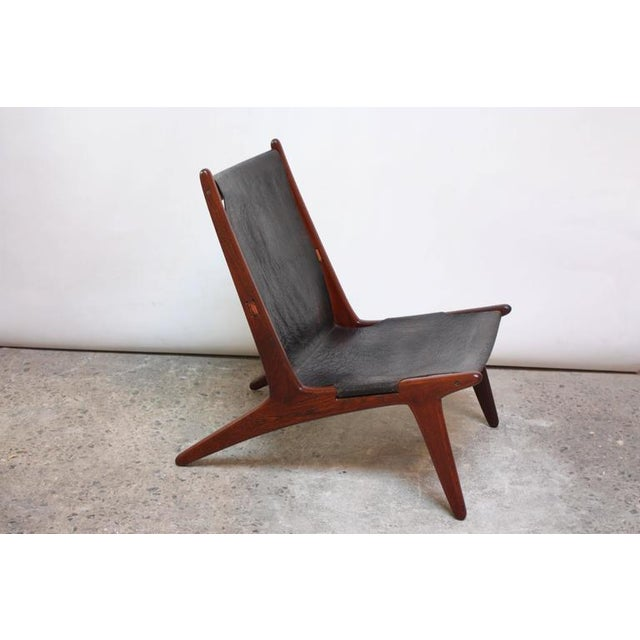 Swedish Teak and Leather Hunting Chair Model #204 by Uno and Östen Kristiansson - Image 2 of 11