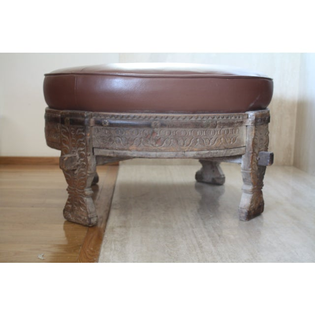 Moroccan carved tribal wood ottoman chairish for Tribal carved coffee table