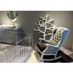 Image of Handmade Wingback White Wooden Rocking Chair