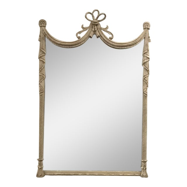 19th Century French Carved Swag and Tassel Mirror - Image 1 of 7