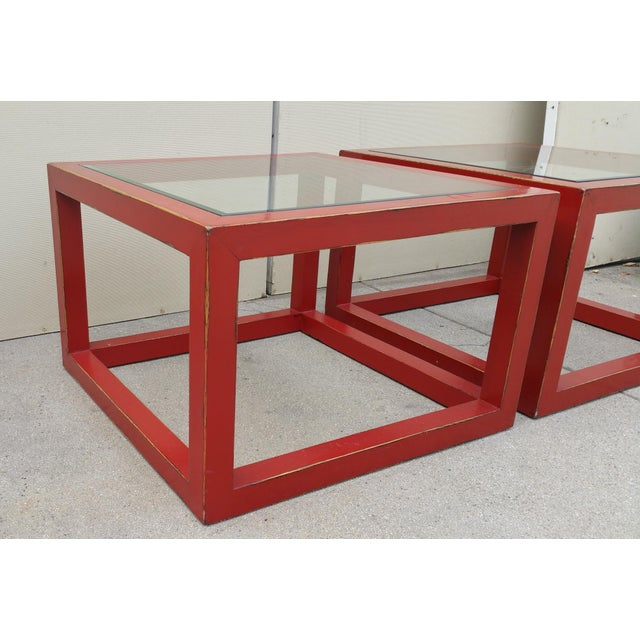Modern Glass Top Red Lacquered Cube Coffee Tables A Pair Chairish