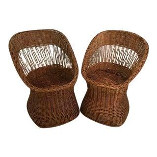 Wicker Boho Chic Chairs - A Pair