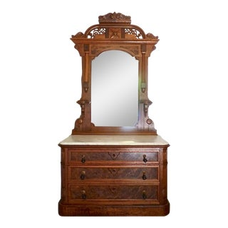 1870 Philadelphia Renaissance Revival Mirror & Carrara Marble Top Dresser Birds Eye Maple Drawer