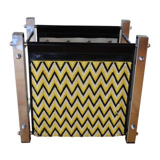 Mid-Century Chrome Chevron Pattern Magazine Rack