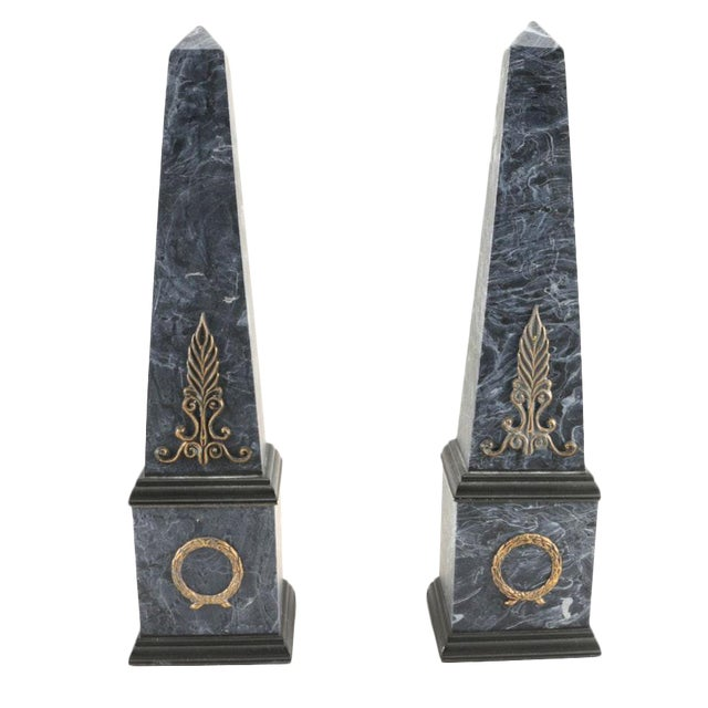 Neoclassical Faux Marble Obelisks- A Pair - Image 1 of 10