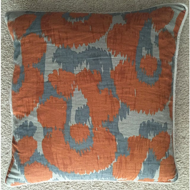 Orange & Gray Linen Pillows - A Pair - Image 3 of 6
