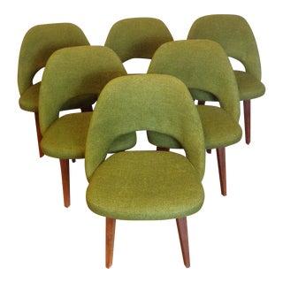 Mid-Century Saarinen Green Tweed Executive Chairs - Set of 6