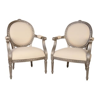 Silver Painted Armchairs - A Pair