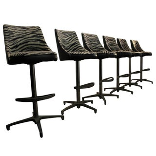 Chromcraft Mid-Century Zebra Bar Stools - Set of 6