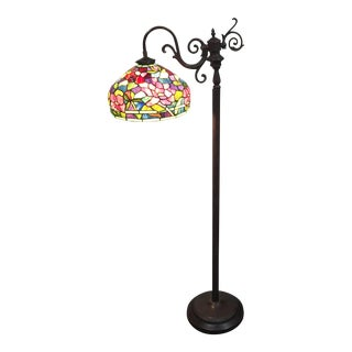 Floral Motif Stained Glass Floor Lamp