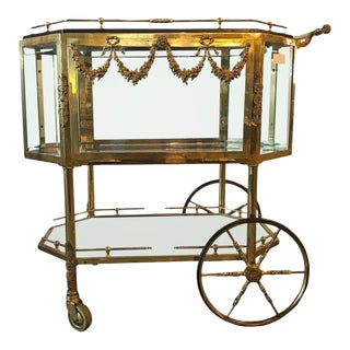 Bronze Vitrine Style Hollywood Regency Bar Cart