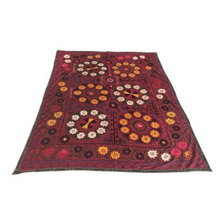 Dark Red Suzani Blanket