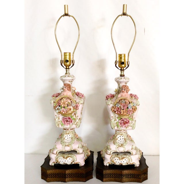 Italian Porcelain Capidomente Table Lamps - A Pair - Image 2 of 8