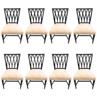 Ebonized Walnut Criss Cross Style Dining Chairs - Set of 8