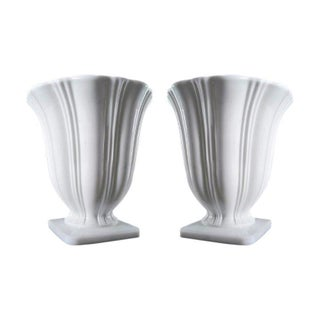 Art Deco Milk Glass Planters - A Pair