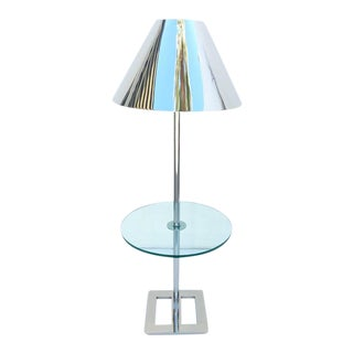 Polished Nickel and Glass Floor Lamp with Table by Charles Hollis Jones