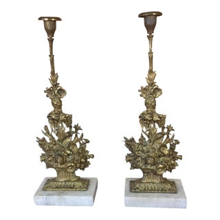 Antique Victorian Candle Holders - A Pair