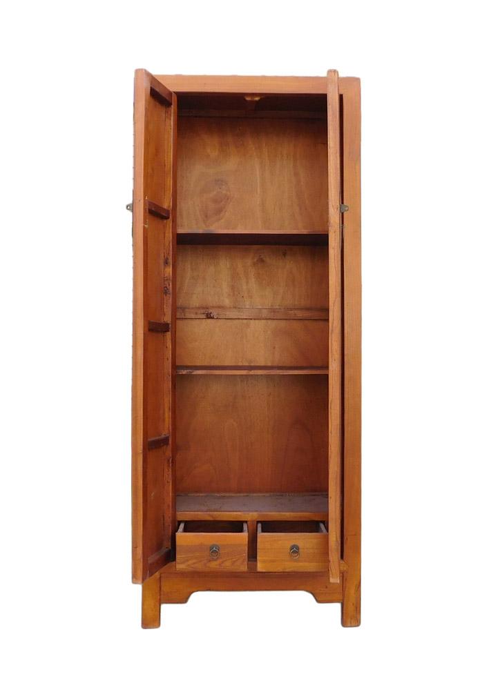 Chinese Brown Tall Narrow Storage Wardrobe Cabinet   Image 5 Of 6