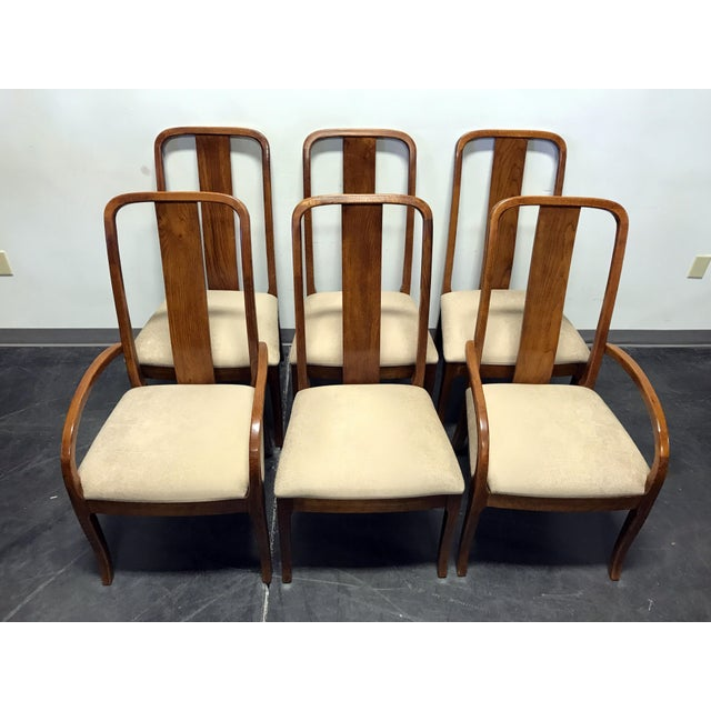 Thomasville Contemporary Oak Dining Chairs Set Of 6