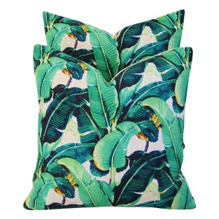 Dorothy Draper-Style Banana Leaf Feather/Down Pillows - a Pair