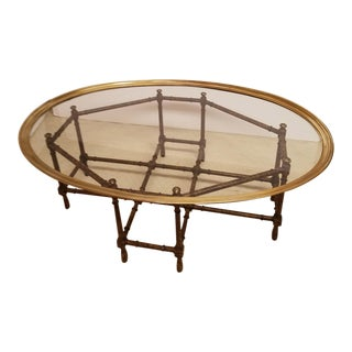 Baker Faux Tortoise Bamboo Oval Brass Banded Glass Top Cocktail Table