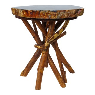 Petrified Wood Side Table with Branch Base