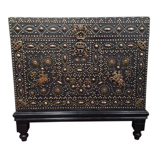 18th Century French Gothic Leather & Nails Trunk