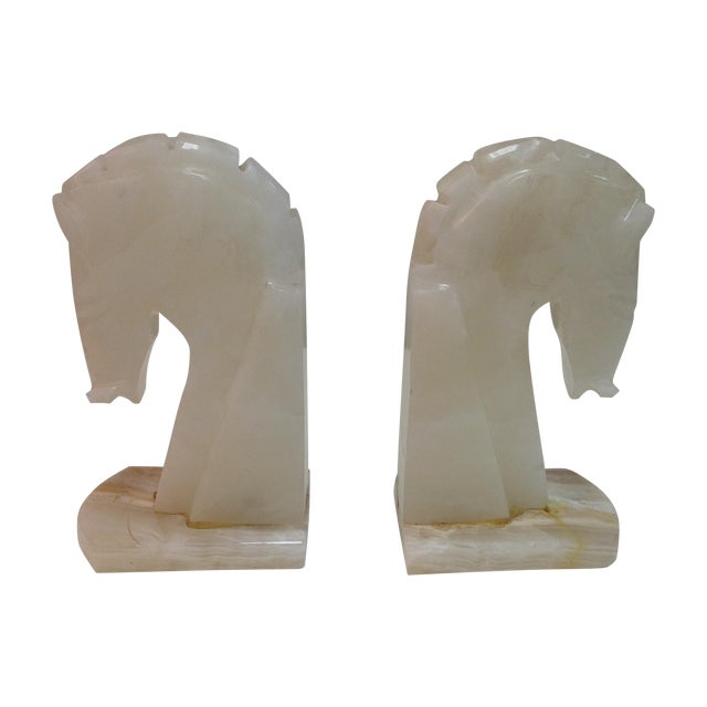 Mid-Century Alabaster Horse Bookends - A Pair - Image 2 of 4