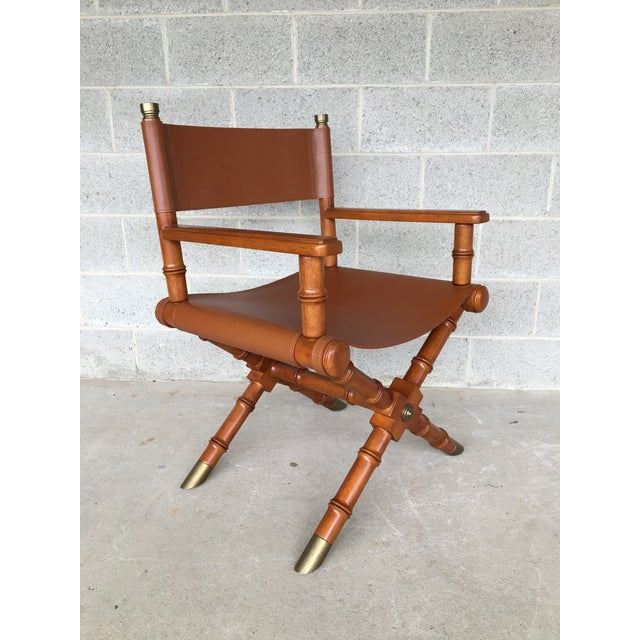 Faux Bamboo Leather Directors Chair W/ Brass Accents - Image 3 of 8