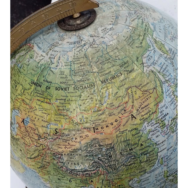 Vintage World Book Globe by Replogle on Stand - Image 9 of 10
