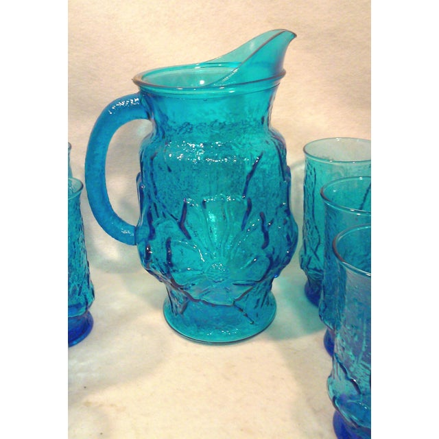 Turquoise Glass Pitcher and Tumblers Set of 17 - Image 4 of 6