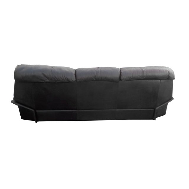 Mid-Century Minimalist Black Leather Italian Sofa - Image 8 of 9