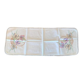 Vintage Hand Embroidered Butterfly Linen Table Runner