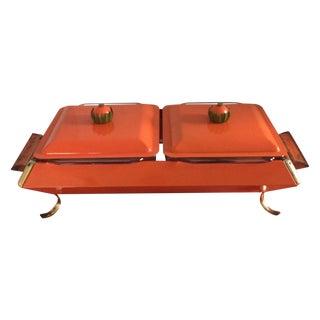 Mid Century Orange Enamel Pyrex Chafing Dish