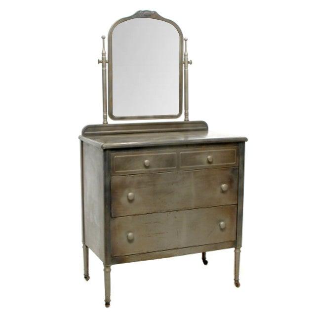 Image of Norman Bel Geddes Industrial Antique Metal Dresser
