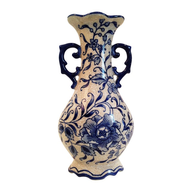 Vintage Blue & White Chinoiserie Crackle Vase - Image 1 of 6