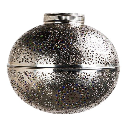 Moroccan Boho Chic Silver Pendant Light With Multi-Color Glass - Image 1 of 5
