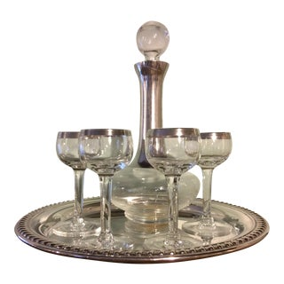 Dorothy Thorpe Sterling Silver on Crystal Cordial - Set of 6