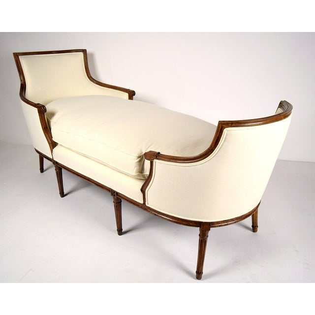 19th c walnut louis xvi chaise lounge duchesse chairish. Black Bedroom Furniture Sets. Home Design Ideas
