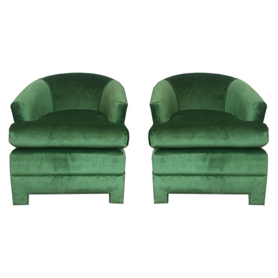 Green Velvet Milo Baughman Club Chairs - A Pair - Image 3 of 4