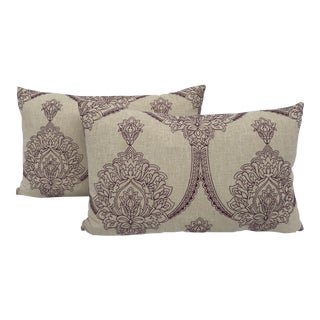 Natural Embroidered Boho Chic Pillows - a Pair