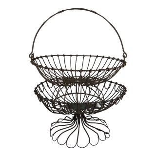 Folk Art Twisted Wire Stacking Egg Baskets - S/2