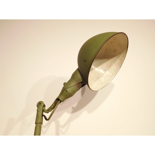Image of Green Metal Industrial Light with Adjustable Arm