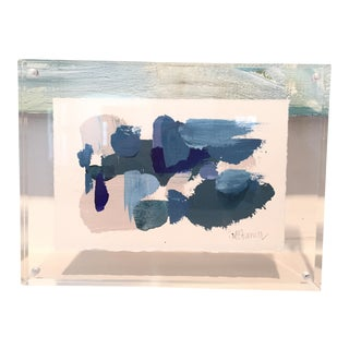 """Lucite Framed """"Blue Days"""" Acrylic Painting"""